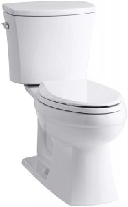 KOHLER K-3754-0 Kelston Comfort Height Two-Piece Elongated 1.6 GPF Toilet with AquaPiston Flush Technology and Left-Hand Trip Lever, White