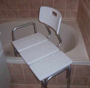 BATH CHAIR WITH BACK, WIDE SEAT, ADJUSTABLE SEAT