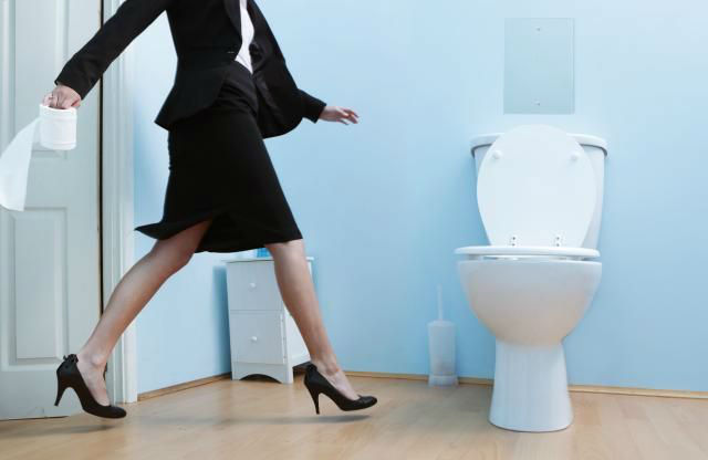 lady running to toilet