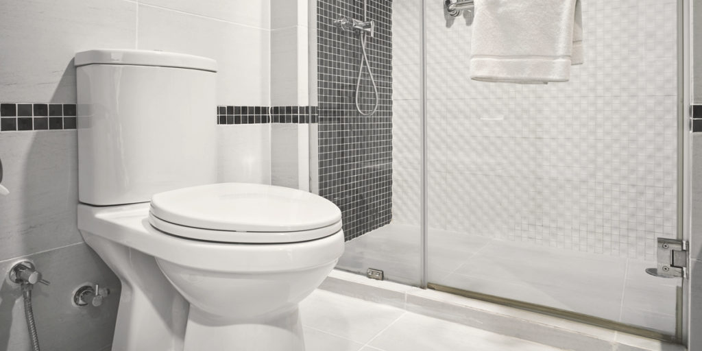 Image of a toilet and show to show if they can share the same drain
