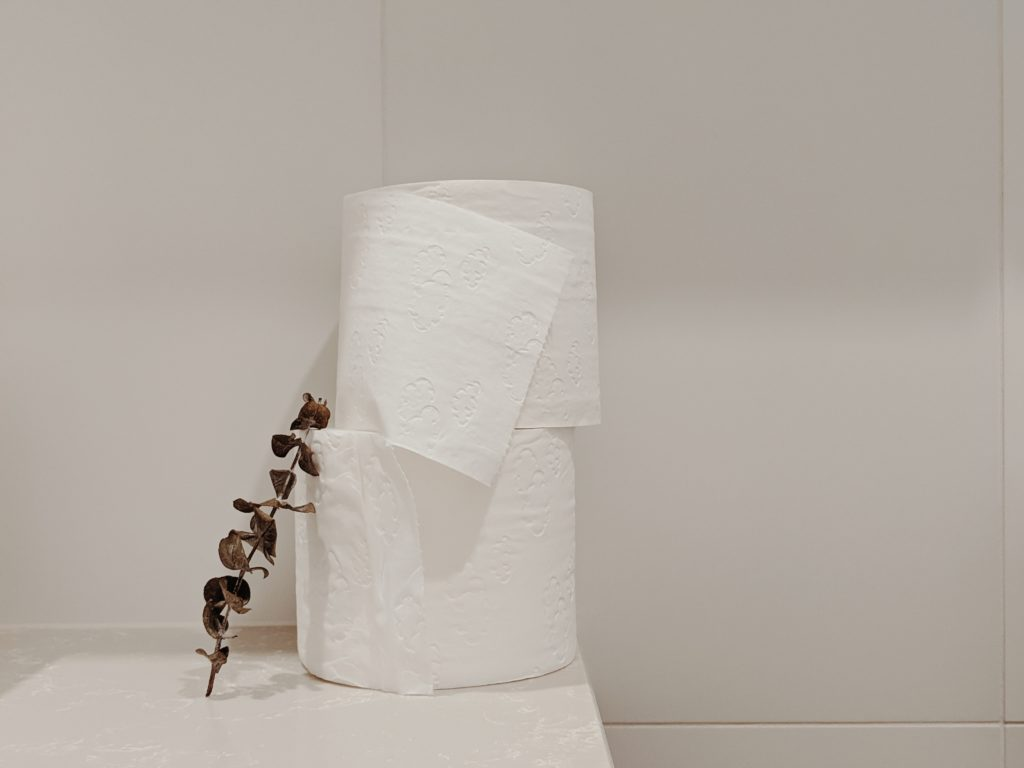 Image of stacked biodegradable toilet paper next to a plant stem.