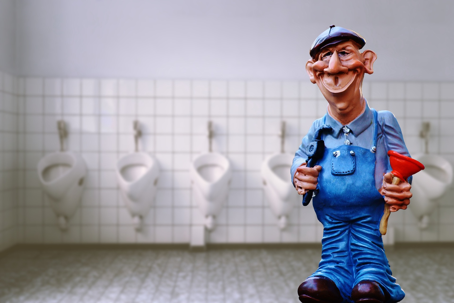 Image of cartoon man repairing toilets traditionally without a toilet repair kit