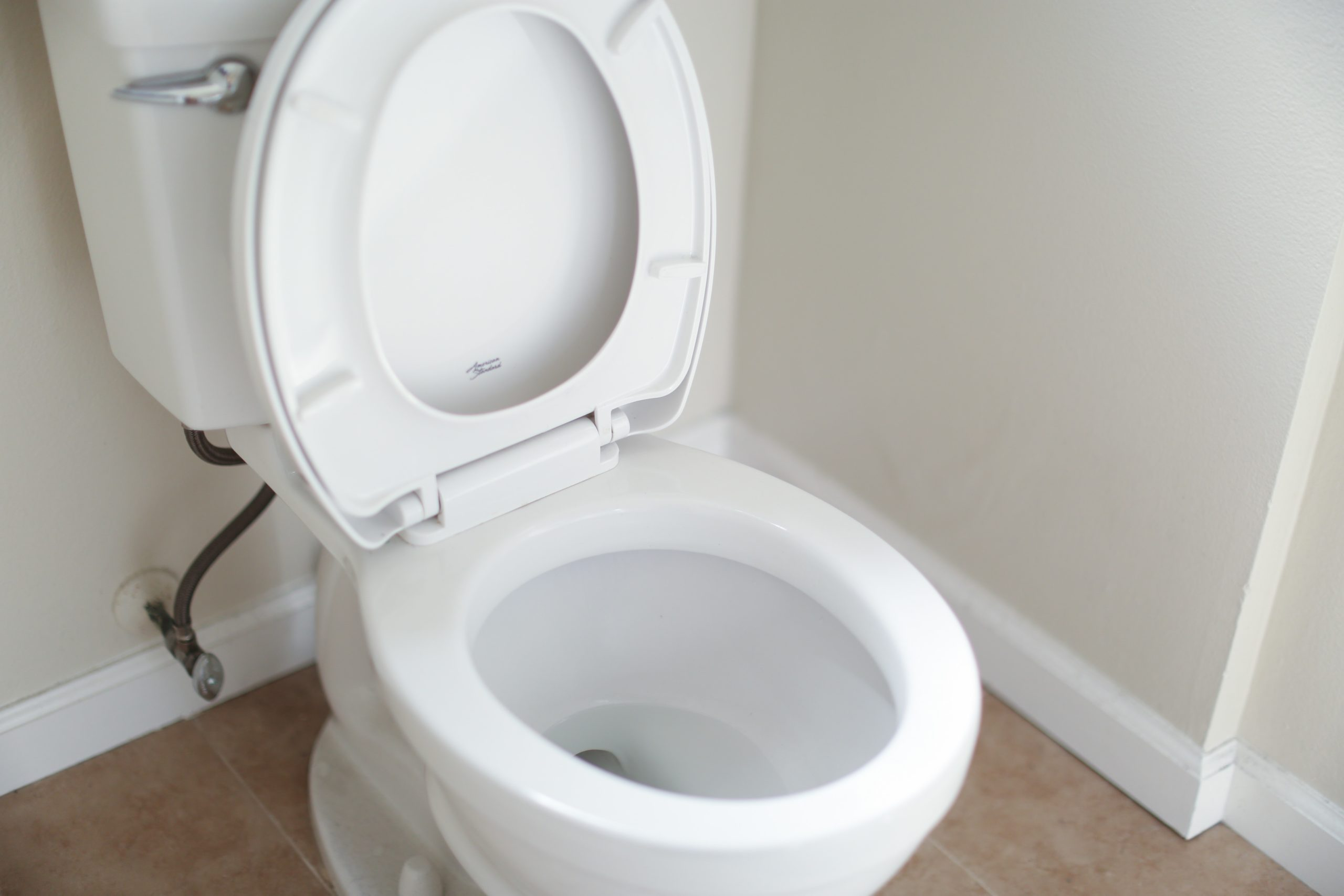 Pearly white toilet bowl