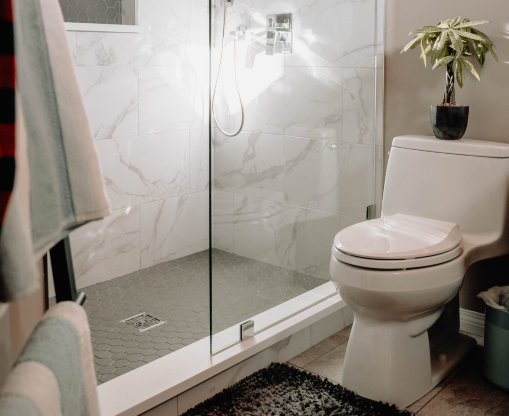 white toilet next to shower