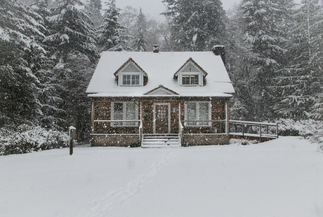 cabin in winter weather