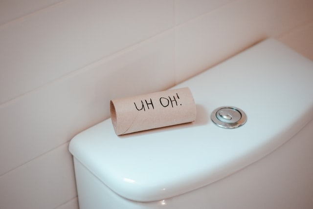 empty toilet paper roll on toilet